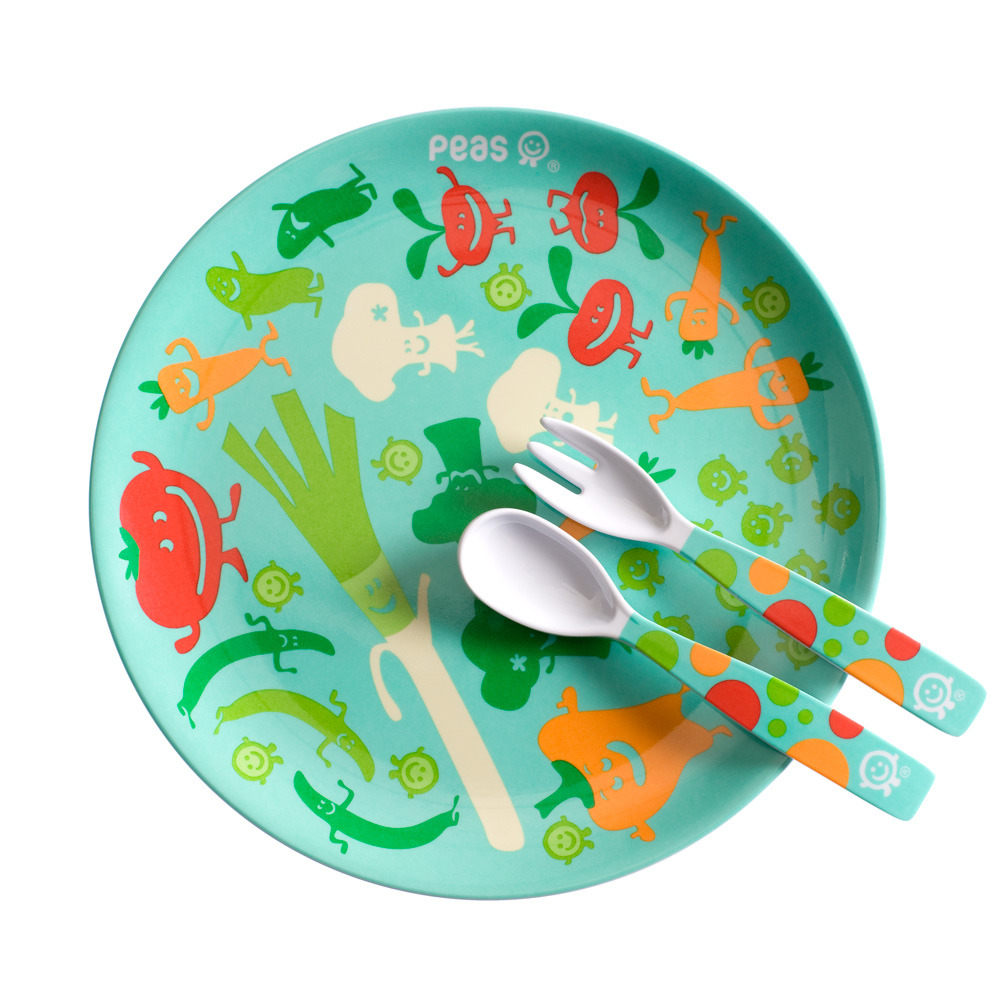 Peas plate with cutlery