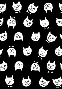 pattern-cat-heads-black-white